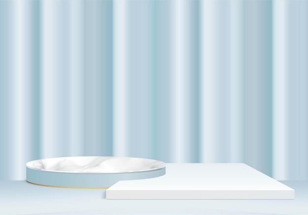 3d marmurowe produkty z kamienia tła wyświetlają scenę podium z geometryczną platformą. renderowania 3d z podium. stoisko do prezentacji produktów kosmetycznych. prezentacja sceniczna na cokole niebieskie studio