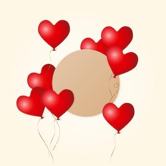 3d matowe czerwone balony latające w kształcie serca ze złotą wstążką i brązową etykietą z papieru pakowego