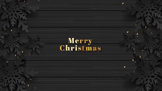 3d merry christmas background płatek śniegu papercut ze złotym tekstem