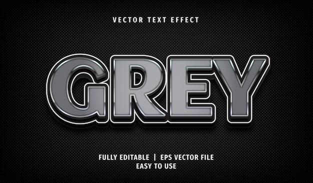 3d metaliczny szary efekt tekstowy, edytowalny styl tekstu