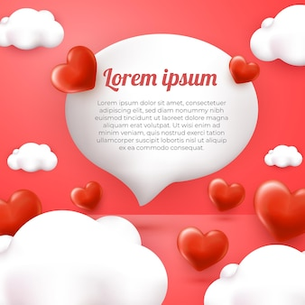 3d miłość i chmura kartkę z życzeniami z różowym tłem szczęśliwy dzień matki szablon mediów społecznościowych