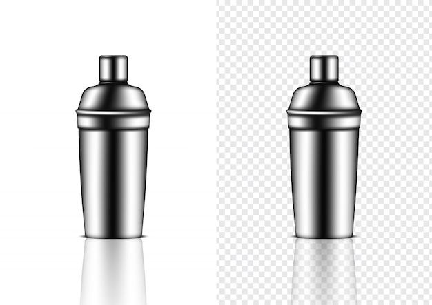 3d mock up realistic metallic shaker bottle