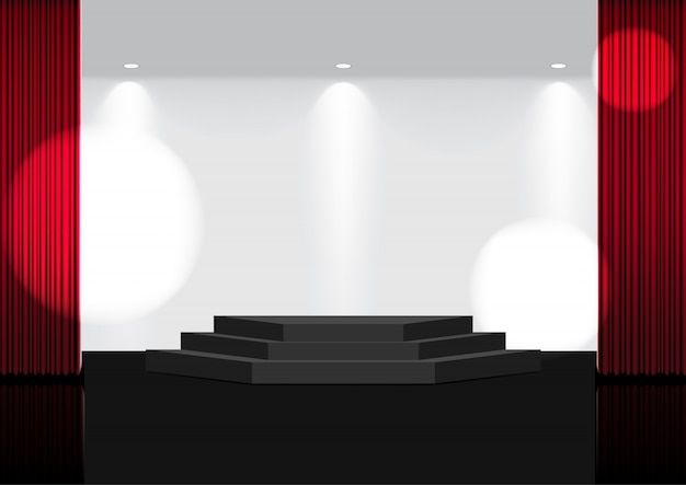 3d mock up realistic open red curtain on stage lub cinema for show