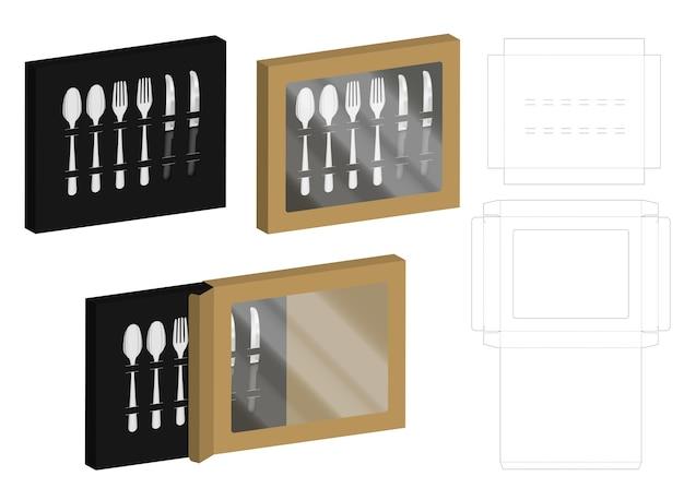 3d mockup pudełko i dieline dla rozwidlenia łyżki i noża