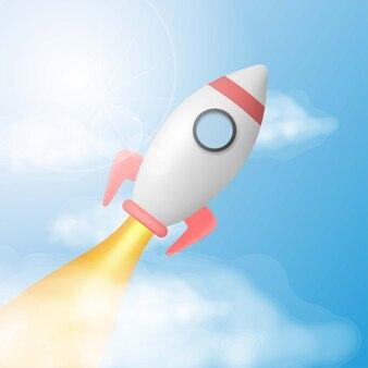 3d modela rakiety wodowanie na niebie z światłem słonecznym i chmurą
