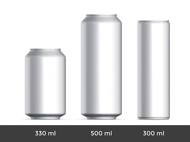 3d może. aluminiowe piwo lub napój gazowany może pusty szablon