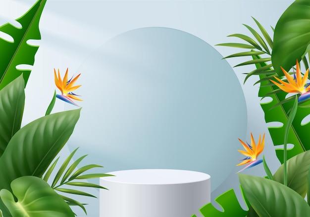 3d niebieska palma renderowanie sceny podium produktu z tropikalną platformą lato w tle