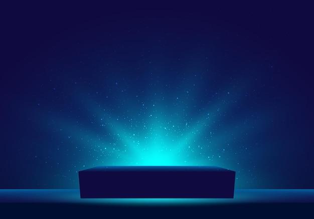 3d niebieskie tajemnicze pudełko z podświetlanym oświetleniem brokatem na ciemnym tle. ilustracja wektorowa