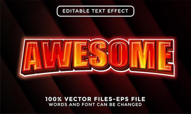 3d niesamowity tekst. edytowalny wektor premium z efektem tekstowym