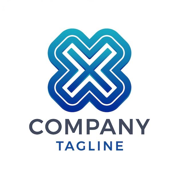 3d nowoczesne, odważne, mocne litery x w linii, niebieskie chromowane logo gradientowe