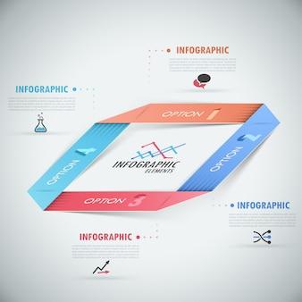 3d nowoczesne opcje infografiki transparent z realistyczną wstążką