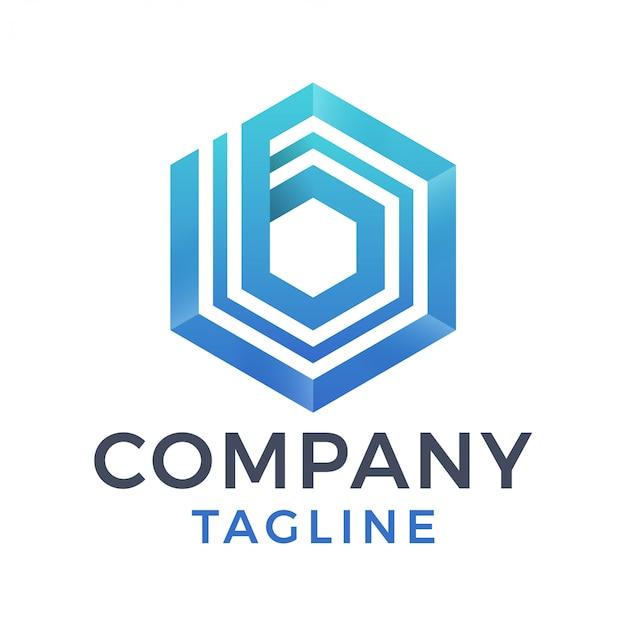 3d nowoczesny geometryczny sześciokąt odważny niebieski projekt logo