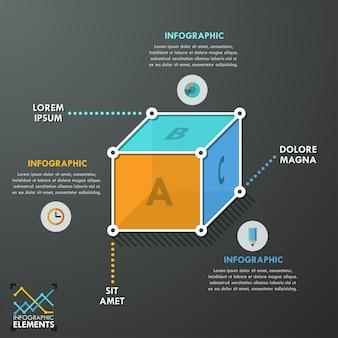 3d nowożytny infographics opcj sztandar