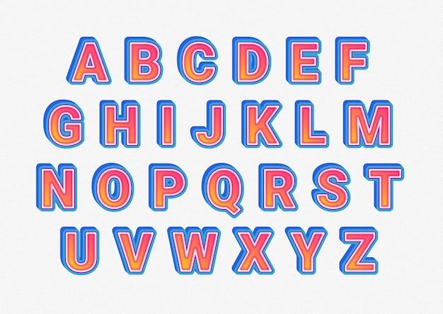 3d nowy nowoczesny zestaw kreatywnych alfabetów
