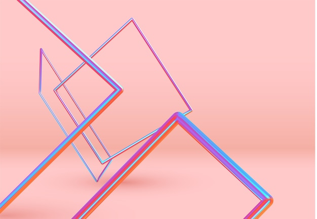 3d obiekty kształtu prostokąta. minimalne abstrakcyjne tło z elementami gradientu w kolorze niebieskim i różowym lewitacja kwadratowej ramki w przestrzeni. plakat z realistycznymi geometrycznymi kształtami wolumetrycznymi