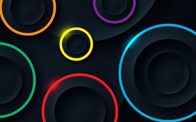 3d okręgi wymiarowe warstw tła z kolorową linią