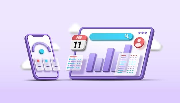 3d optymalizacja seo analityka internetowa i mobilna koncepcja marketingu seo 3d ilustracja wektorowa
