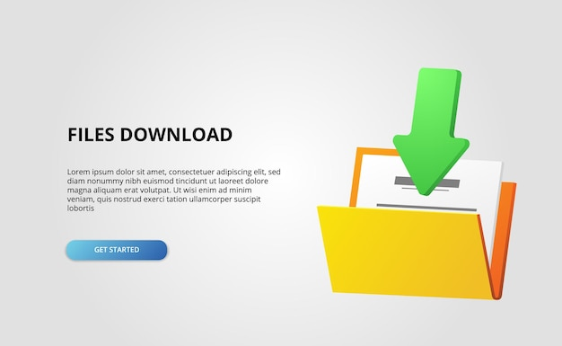 3d otwarty folder zawiera plik dokumentu, strzałka do pobrania, baner internetowy