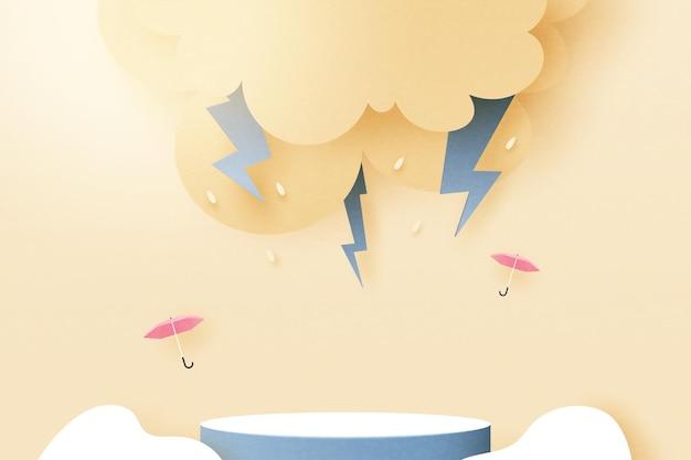 3d papieru wyciąć streszczenie pora deszczowa koncepcja tła. podium cylindra deszczowy dzień, zachmurzone niebo, grzmoty i błyskawice. ilustracja wektorowa.