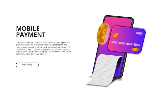 3d perspektywiczny mobilny płatniczy pojęcie z ilustracją karta kredytowa, złota moneta i rachunek.