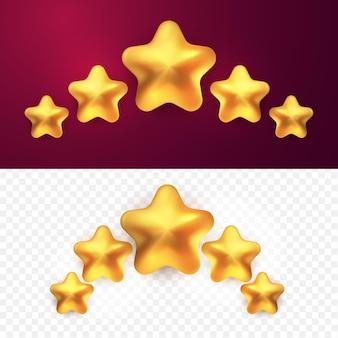 3d pięć złotych gwiazdek ocena klienta ocena produktu w stylu kreskówki