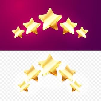 3d pięć złotych gwiazdek ocena produktu przez klientów