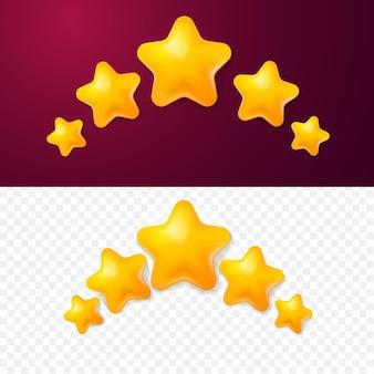 3d pięć żółtych gwiazdek ocena klienta ocena produktu w stylu kreskówki