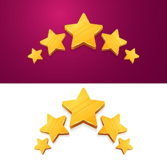 3d pięć żółtych gwiazdek ocena produktu przez klientów