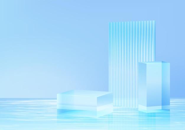 3d platforma tła z niebieskim szkłem w wodzie. tło wektor 3d renderowania platformy kryształ podium. stoisko pokaż produkt kosmetyczny. prezentacja sceniczna na cokole nowoczesne szklane studio na platformie wodnej