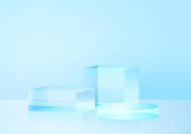 3d platforma tło z niebieskim szkłem nowoczesny. tło wektor 3d renderowania platformy kryształ podium. stoisko pokaż produkt kosmetyczny. prezentacja sceniczna na cokole nowoczesnej szklanej platformie studyjnej