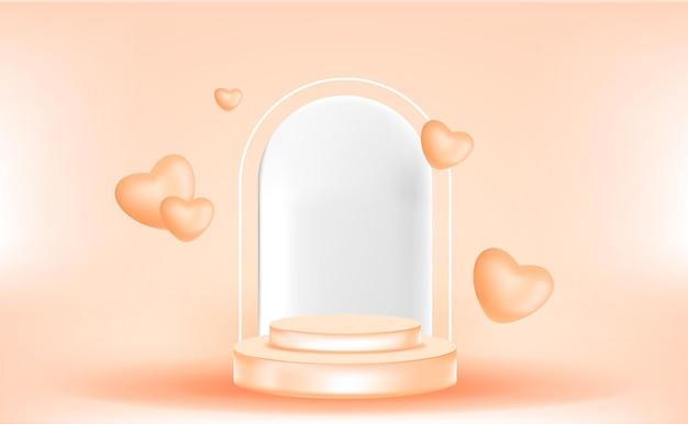 3d podium z ornamentem miłości w kolorze pomarańczowym