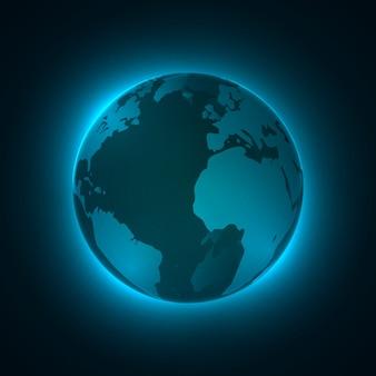 3d podświetlana kula, świecące cząsteczki. koncepcja technologii