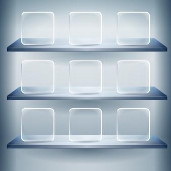 3d półki ekspozycyjne na wystawę z pustymi szklanymi przyciskami