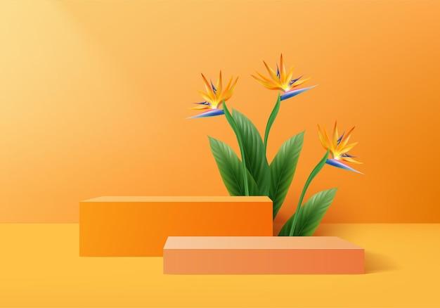 3d pomarańczowy palmy renderowanie sceny podium produktu z tropikalną platformą lato w tle