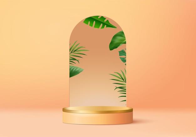 3d pomarańczowy palmy renderowanie sceny podium produktu z tropikalną platformą