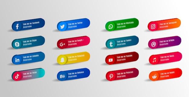 3d popularne ikony serwisów społecznościowych z banerami zestaw bezpłatnych ikon