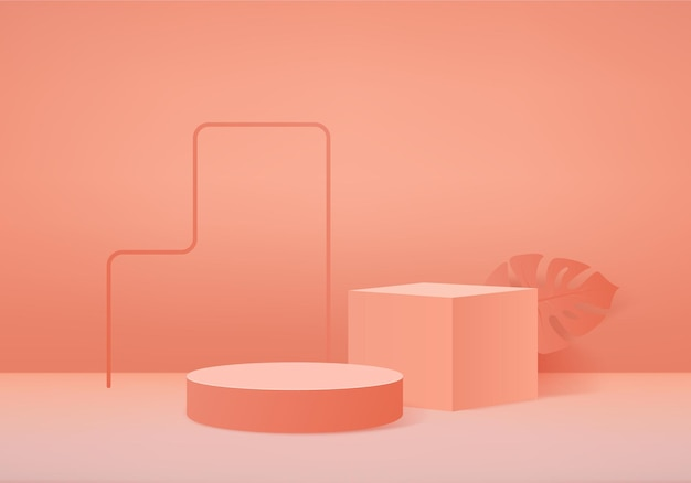 3d produkty w tle wyświetlają scenę podium z geometryczną platformą liści palmowych. gablota sceniczna na cokole display orange studio