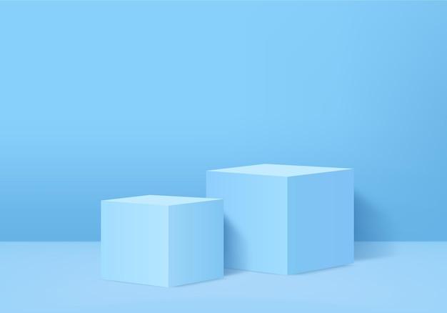 3d produkty w tle wyświetlają scenę podium z geometryczną platformą. prezentacja sceniczna na wystawie postumentowej blue studio