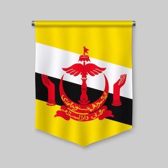 3d proporzec realistyczny z flagą brunei