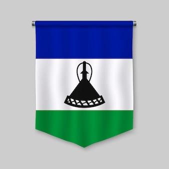 3d proporzec realistyczny z flagą lesotho