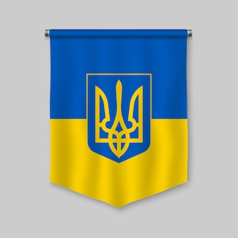 3d proporzec realistyczny z flagą ukrainy