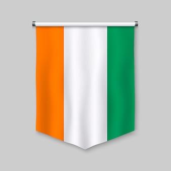 3d proporzec realistyczny z flagą wybrzeża kości słoniowej