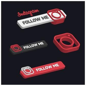 3d przycisk instagram follow me