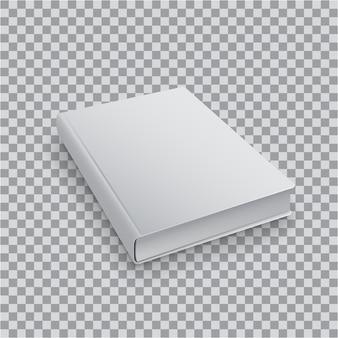 3d pusty szablon książki z białą okładką na przezroczystym tle, perspektywiczny widok z góry. realistyczna makieta książek.