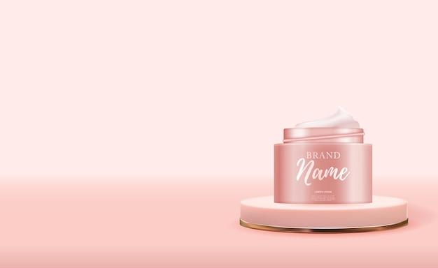 3d Realistic Natural Beauty Kosmetyk Do Pielęgnacji Twarzy Lub Ciała Na Błyszczącym Tle Bokeh Premium Wektorów