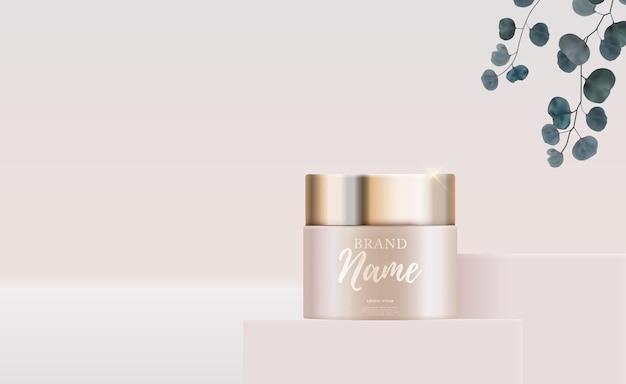 3d realistic natural beauty kosmetyk do pielęgnacji twarzy lub ciała na błyszczącym tle bokeh
