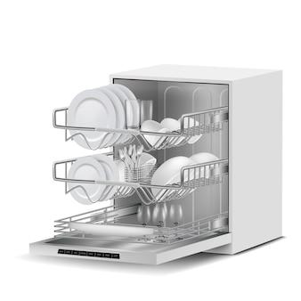 3d realistyczna biała zmywarka do naczyń z trzema metalowymi stojakami, wypełniona czystymi talerzami, szkłem