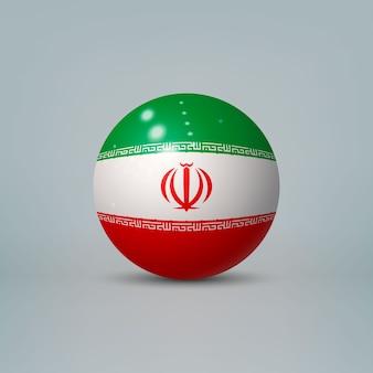 3d realistyczna błyszcząca plastikowa piłka lub kula z flagą iranu