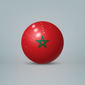 3d realistyczna błyszcząca plastikowa piłka lub kula z flagą maroka