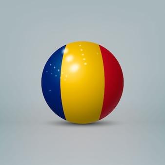 3d realistyczna błyszcząca plastikowa piłka lub kula z flagą rumunii